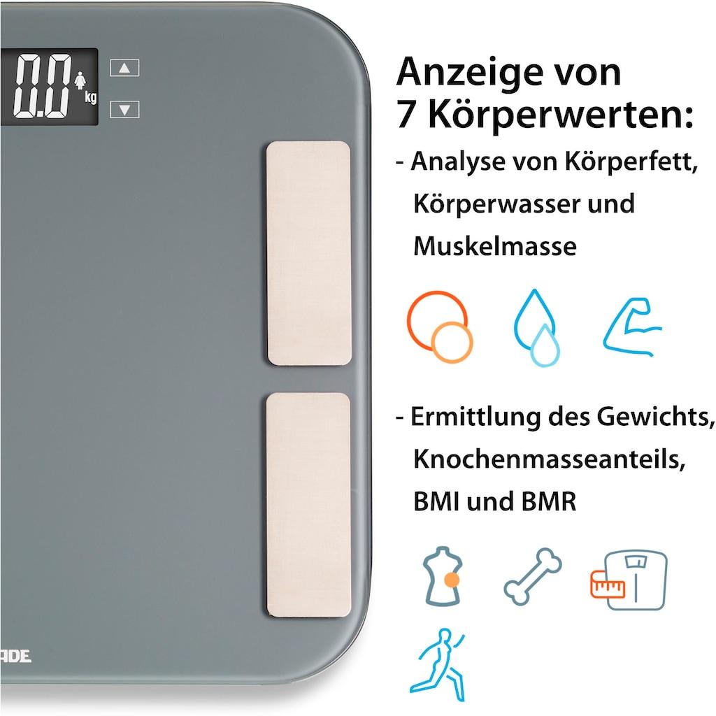 ADE Körper-Analyse-Waage »BA1807 Malou«, digitale Personenwaage zur Analyse von Körperfett, Körperwasser und Muskelmasse sowie BMI und BMR