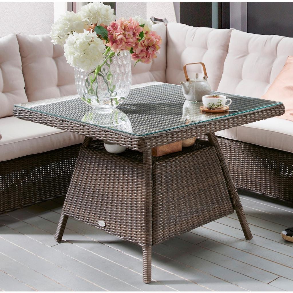 Destiny Gartenmöbelset »PALMA Dininglounge«, (3 tlg.), 1 Sitzecke, 1 Bank und 1 Tisch