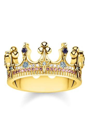 THOMAS SABO Fingerring »Krone gold, TR2224-959-7-50, 52, 54, 56, 58, 60«, mit Spinell, Zirkonia und Glassteinen kaufen