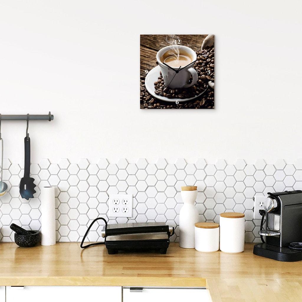Artland Wanduhr »Heißer Kaffee - dampfender Kaffee«, lautlos, ohne Tickgeräusche, nicht tickend, geräuschlos - wählbar: Funkuhr o. Quarzuhr, moderne Uhr für Wohnzimmer, Küche etc. - Stil: modern