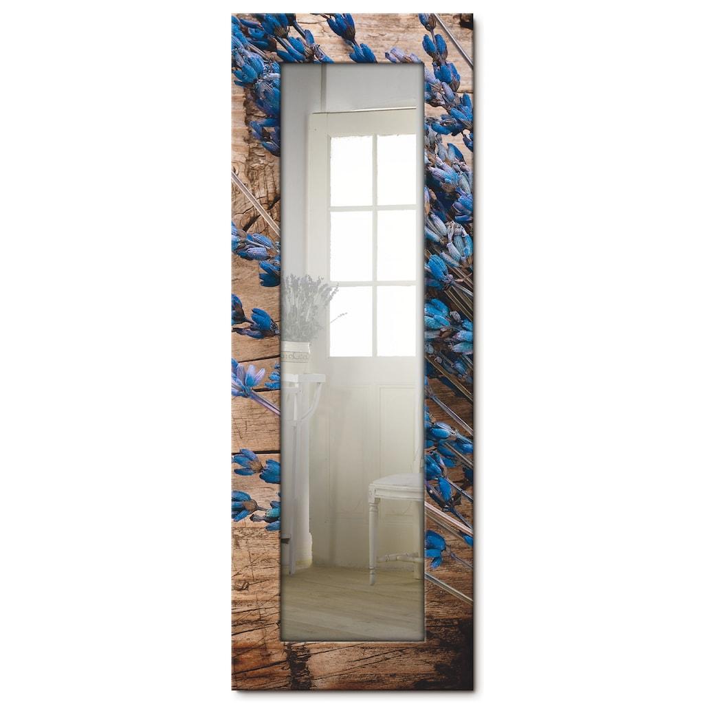Artland Wandspiegel »Lavendel vor Holzhintergrund«, gerahmter Ganzkörperspiegel mit Motivrahmen, geeignet für kleinen, schmalen Flur, Flurspiegel, Mirror Spiegel gerahmt zum Aufhängen