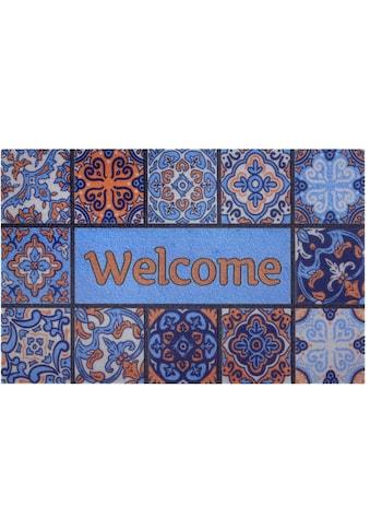 Home affaire Fußmatte »Welcome Fliesen«, rechteckig, 6 mm Höhe, Schmutzmatte, mit... kaufen