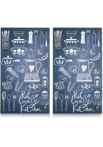 """Zeller Present Schneide -  und Abdeckplatte """"Lovely Kitchen"""", ESG - Sicherheitsglas, (Set, 2 - tlg.) kaufen"""