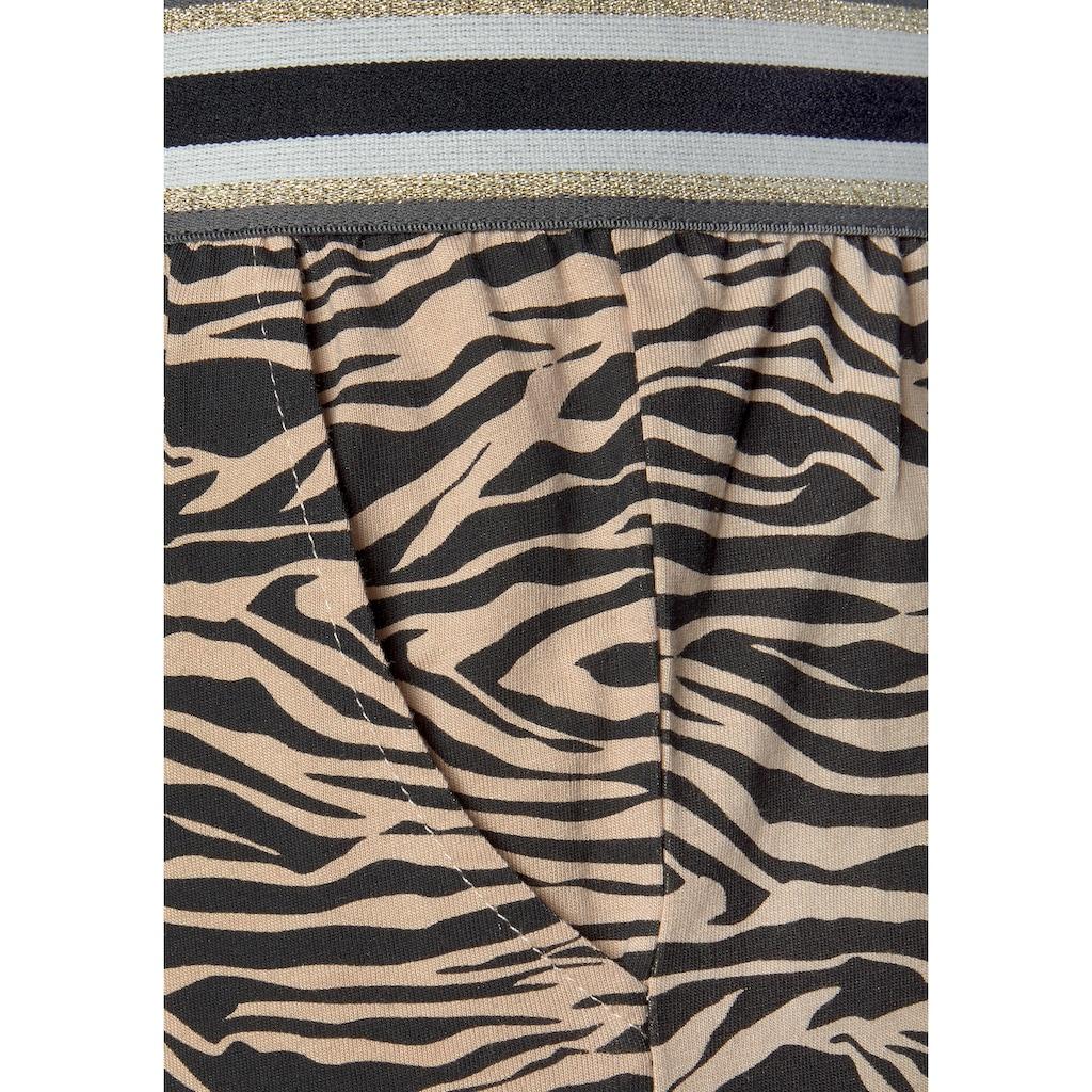 s.Oliver Pyjama, lange Hose mit Animal-Print