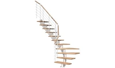 DOLLE Mittelholmtreppe »Hamburg Eiche 75«, bis 301 cm, Edelstahlgeländer, versch. Ausführungen kaufen
