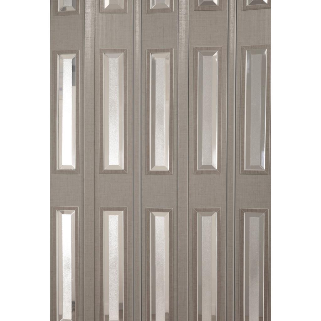 Falttür »Elvira«, Höhe nach Maß, grau gewebt mit Cristall Fenstern