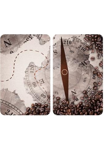"""WENKO Herd - Abdeckplatte """"Universal Kompass"""", Glas Kunststoff, (Set, 2 - tlg.) kaufen"""