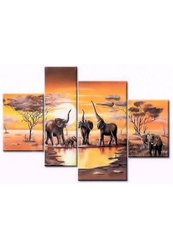 Home affaire Kunstdruck »Elefantentränke«, (Set, 4 St.) kaufen