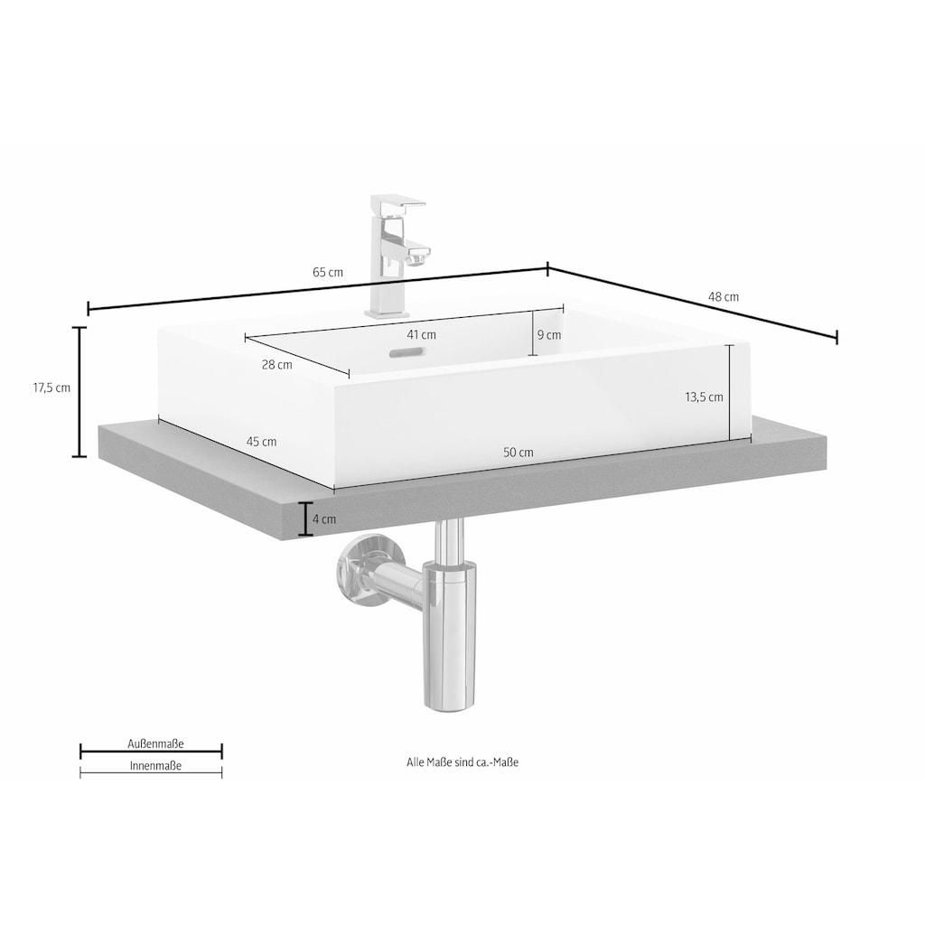 OPTIFIT Waschtisch »Doha«, mit Design-Siphon, Aufsatzbecken eckig