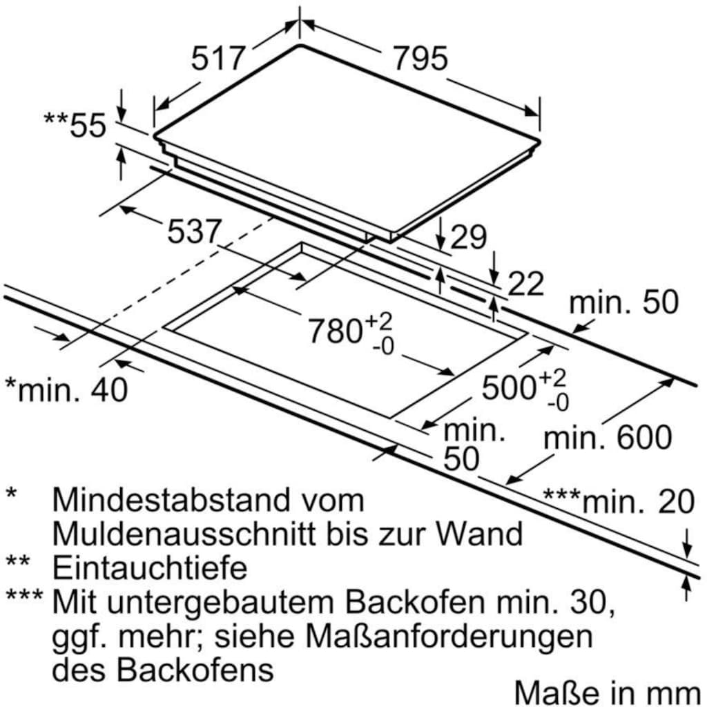 SIEMENS Flex-Induktions-Kochfeld von SCHOTT CERAN® »ED845FWB5E«, ED845FWB5E