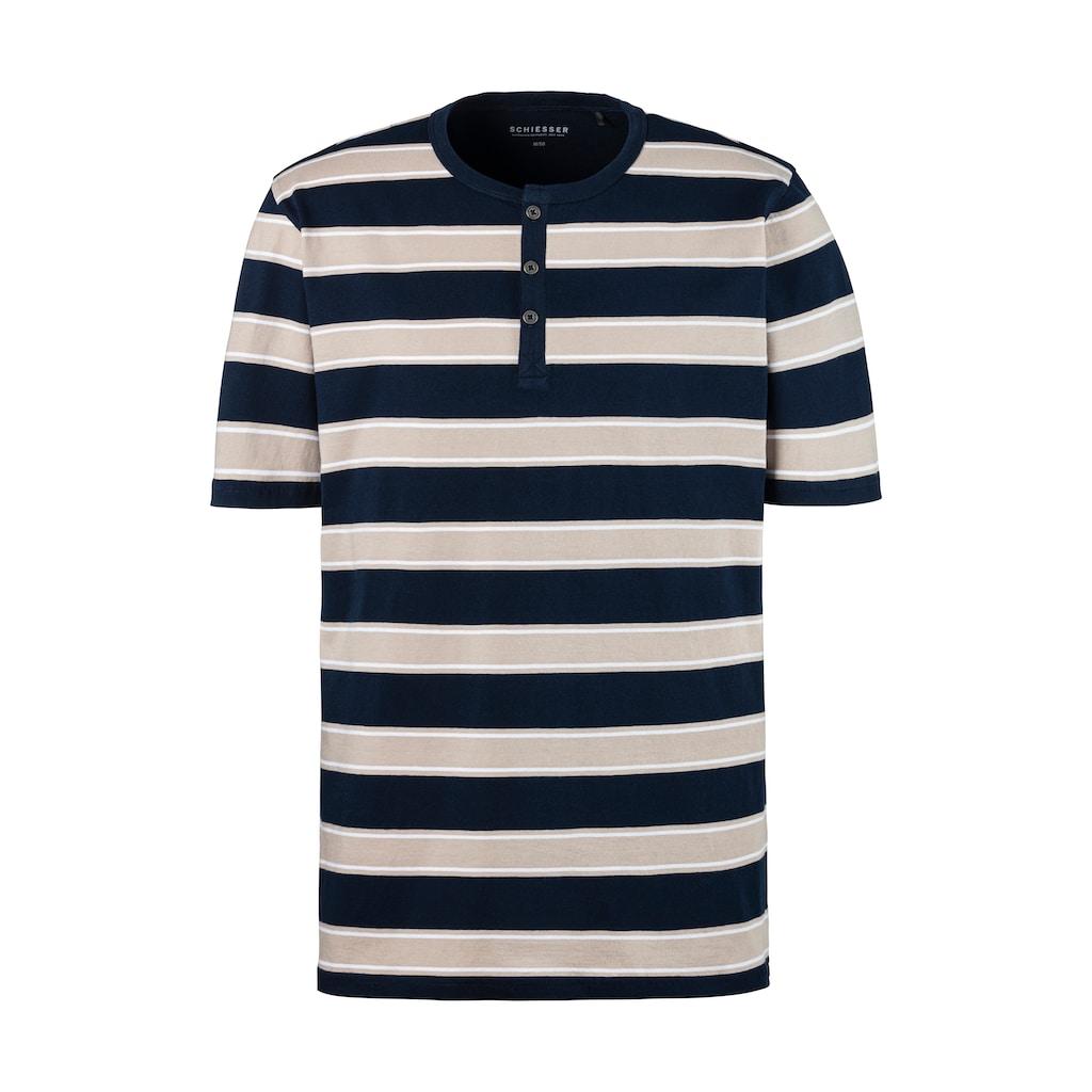 Schiesser Shorty, Blockstreifen Shirt mit Knopfleiste