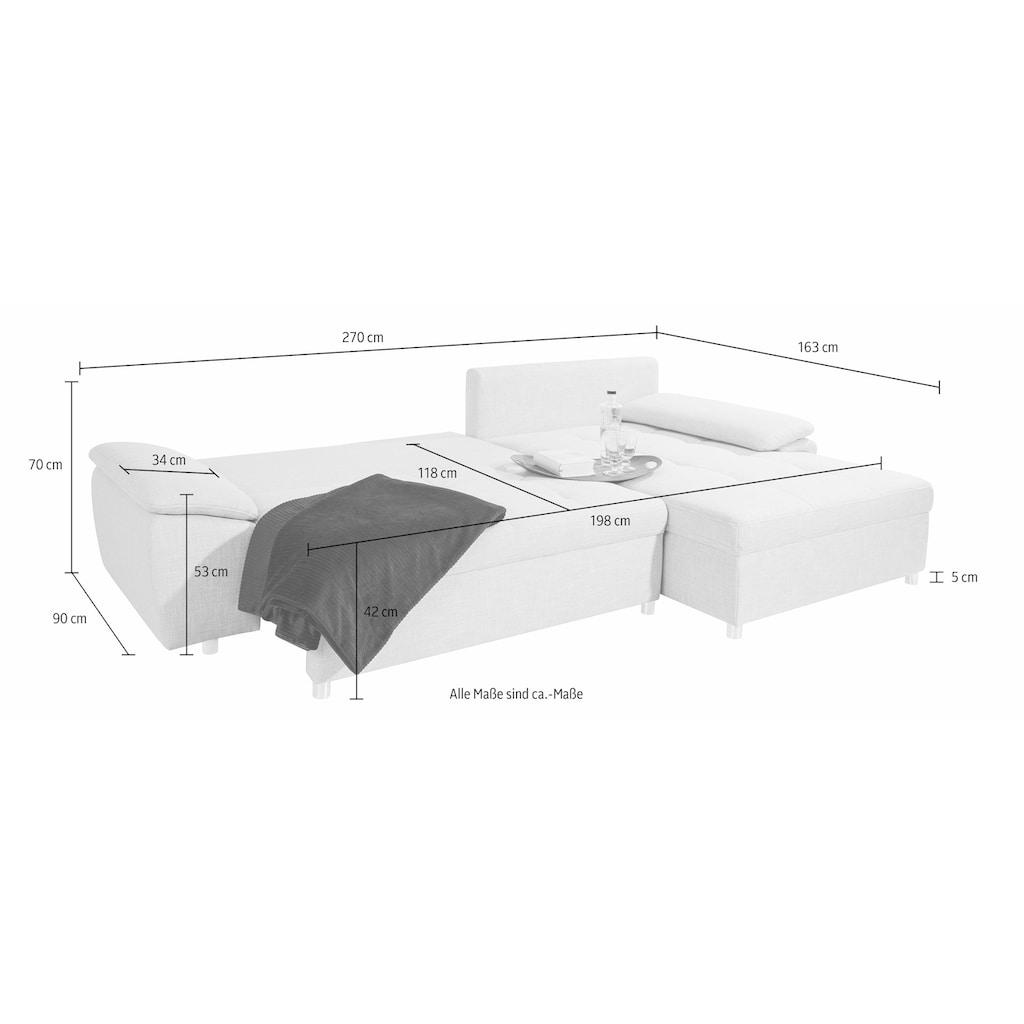 sit&more Ecksofa »Labene«, wahlweise mit Bettfunktion und Bettkasten, inklusive loser Rückenkissen, frei im Raum stellbar