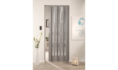 FORTE Kunststoff - Falttür »Elvira«, grau gewebt, mit 4 Fenstern in Cristall kaufen