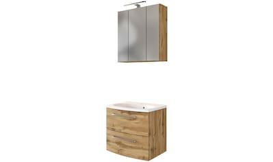 HELD MÖBEL Badmöbel-Set »Catania«, (2 tlg.), mit 3D-Spiegelschrank und gebogenes Mineralgussbecken kaufen