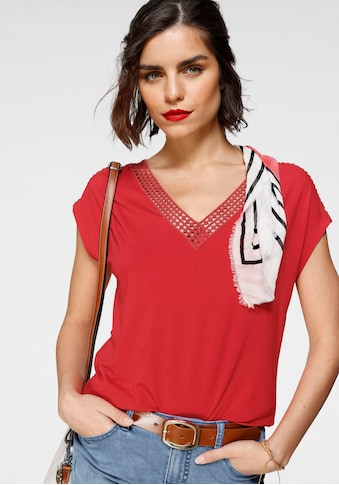 Tamaris Kurzarmshirt, mit Spitzenausschnitt kaufen