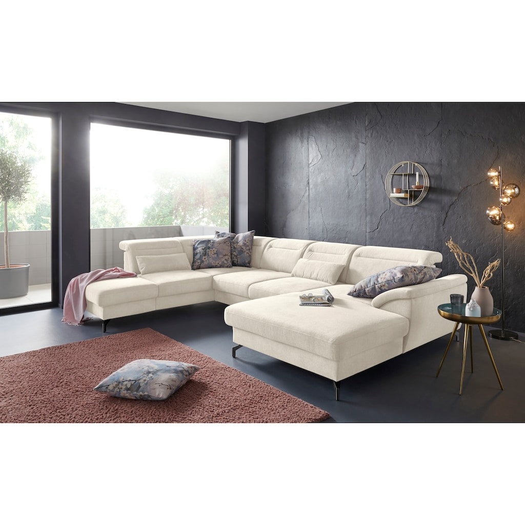 sit&more Wohnlandschaft, 12 cm Fußhöhe, inklusive Sitztiefenverstellung, wahlweise Kopfteilverstellung, wahlweise in 2 unterschiedlichen Fußfarben