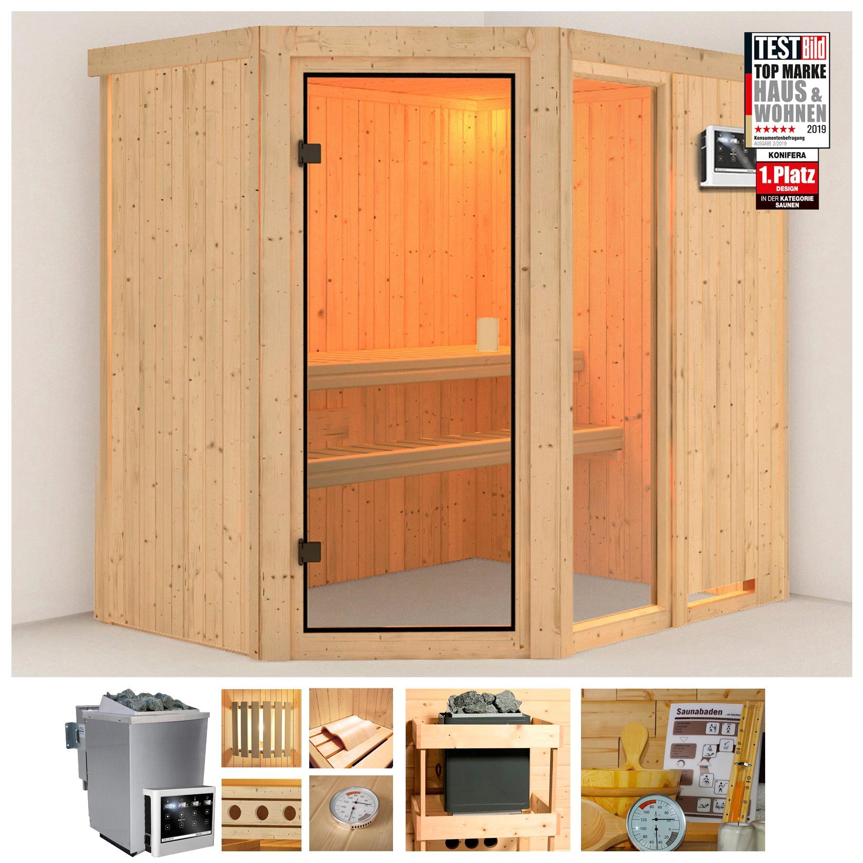 KONIFERA Sauna »Berga 1«, 196x151x198 cm, 9 kW Bio-Kombiofen mit ext. Steuerung | Bad > Sauna & Zubehör | KONIFERA