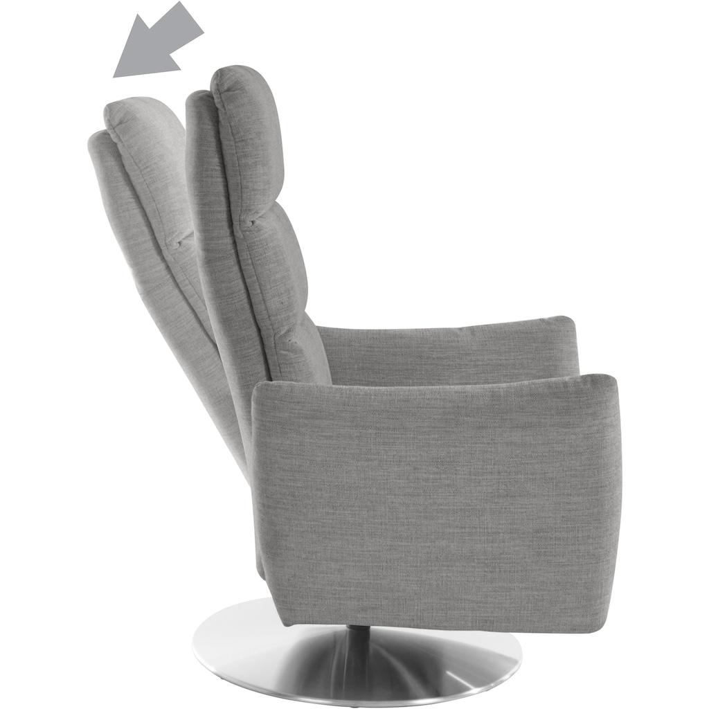 Places of Style Relaxsessel »Bardi«, in 3 Breiten (S,M,L), mit Kopfstützenverstellung, Drehfunktion und integrierter Fußstütze, wahlweise manuelle oder 2-motorische Relaxfunktion und auch mit Aufstehhilfe