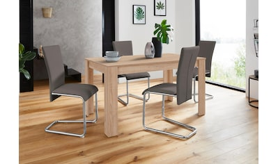 Homexperts Essgruppe »Nick3-Mulan«, (Set, 5 tlg.), mit 4 Stühlen, Tisch in eichefarben... kaufen