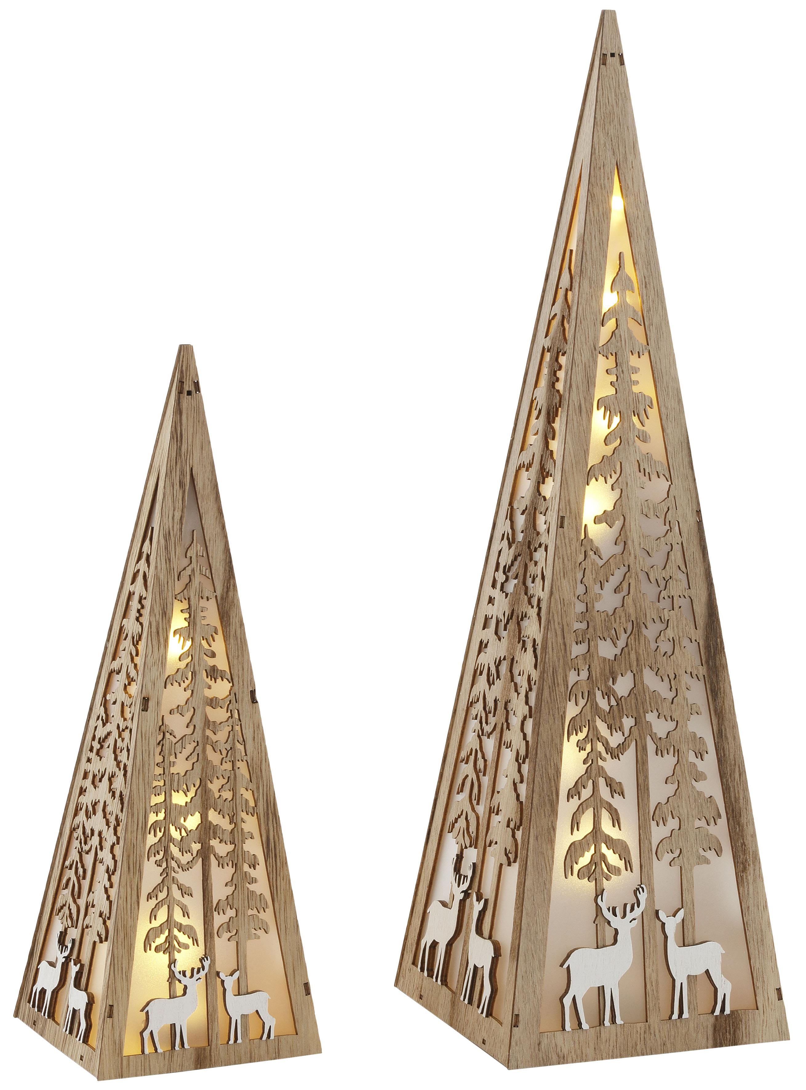 Home affaire LED Dekoobjekt »Pyramide«, Warmweiß, im 2-teiligen Set, mit liebevollen Details, Höhe ca. 30 + 45 cm