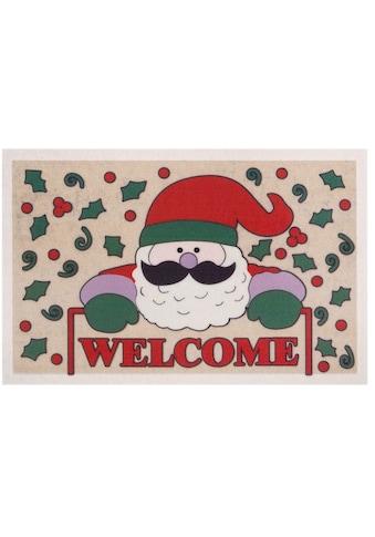 Home affaire Fußmatte »Welcome Weihnachtsmann«, rechteckig, 6 mm Höhe, Schmutzmatte,... kaufen