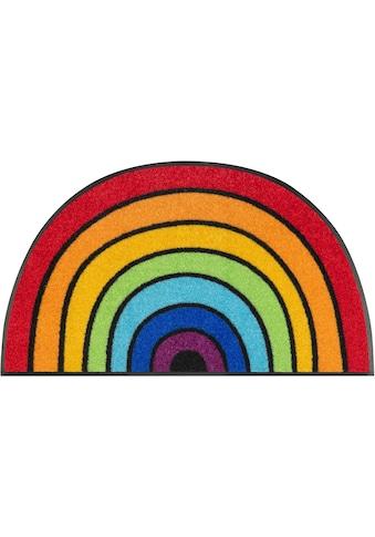 wash+dry by Kleen-Tex Fußmatte »Round Rainbow«, halbrund, 7 mm Höhe, Schmutzfangmatte,... kaufen