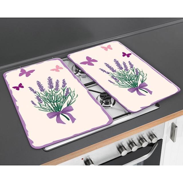 """WENKO Herd-Abdeckplatte """"Lavendel-Bouquet"""", Glas, (Set, 2-tlg.)"""
