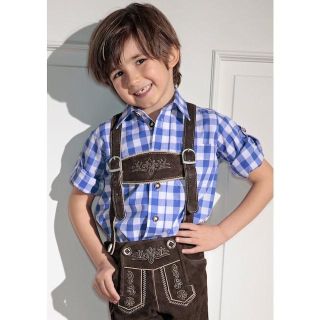 Trachtenhemd Kinder kariert mit Krempelärmel, OS-Trachten