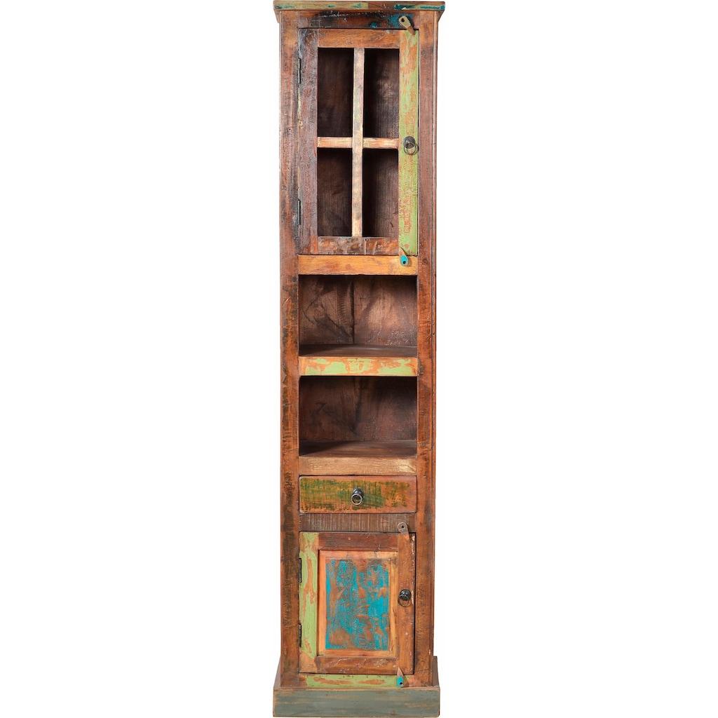 SIT Hochschrank »Riverboat«, aus recyceltem Altholz mit Farbresten, Shabby Chic, Vintage