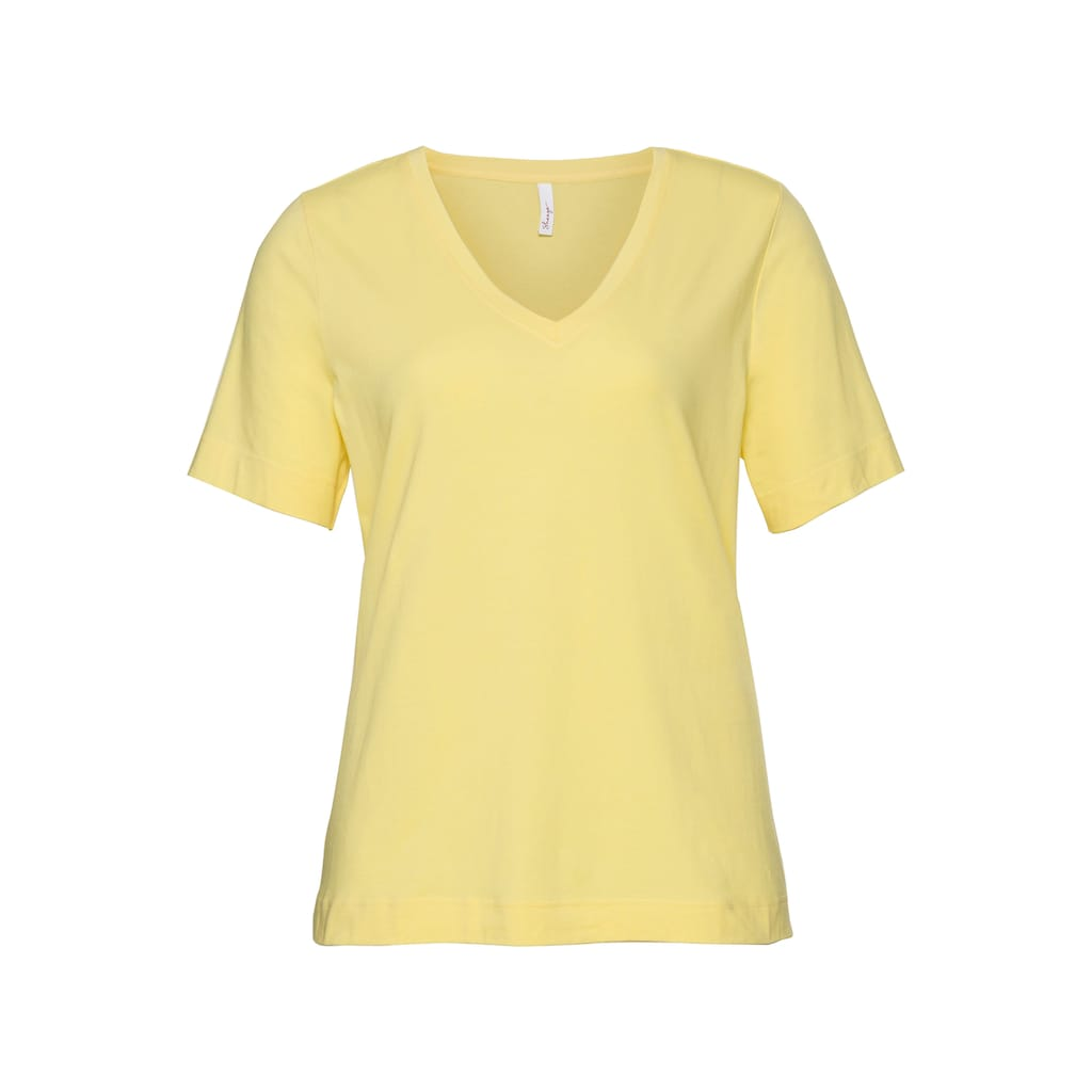 Sheego T-Shirt, mit V-Ausschnitt und verlängertem Arm