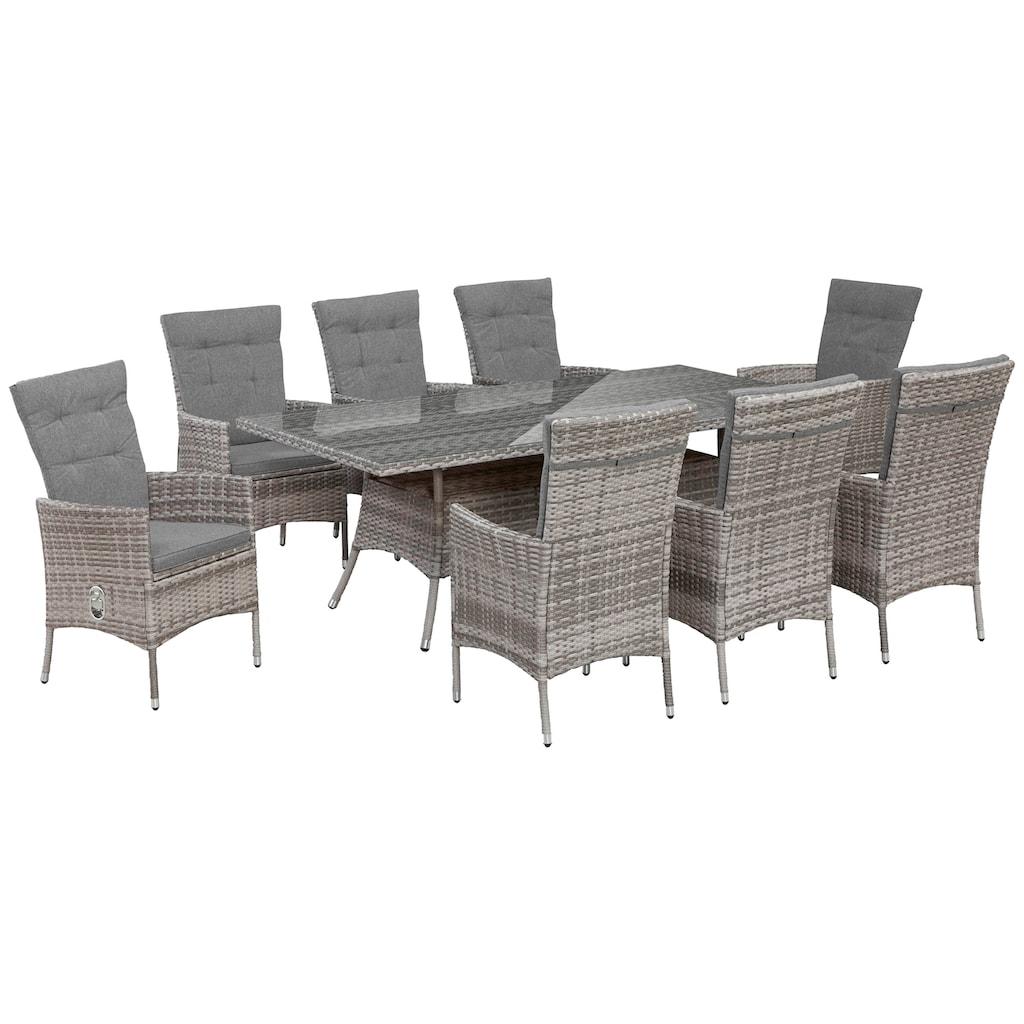KONIFERA Gartenmöbelset »Belluno«, (17 tlg.), 8 Sessel, Tisch 200x100 cm, Polyrattan
