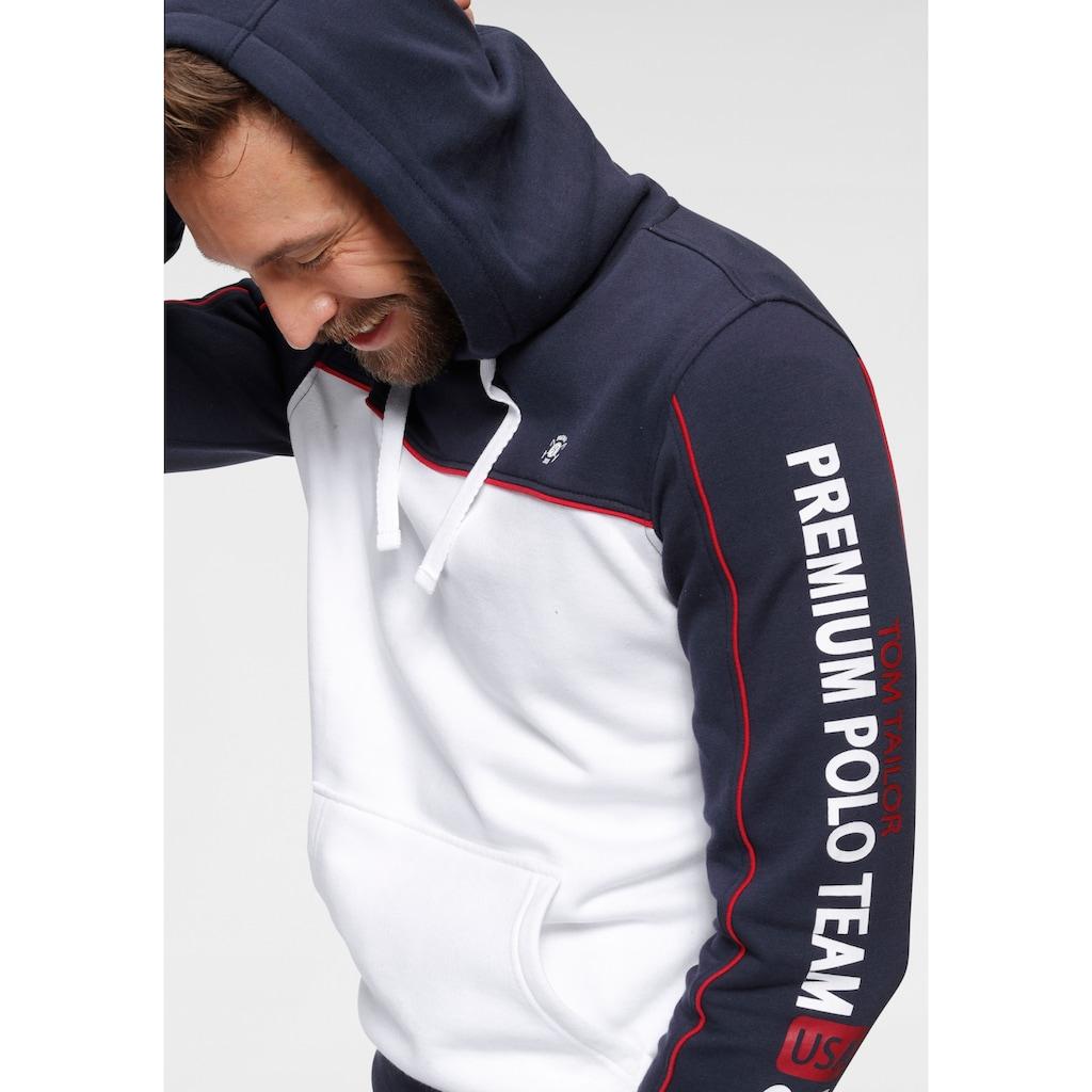 TOM TAILOR Polo Team Sweatshirt, Mit Kängurutasche und Print auf dem Ärmel