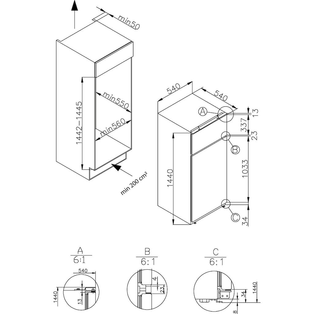 Amica Einbaukühlgefrierkombination, LED- Beleuchtung