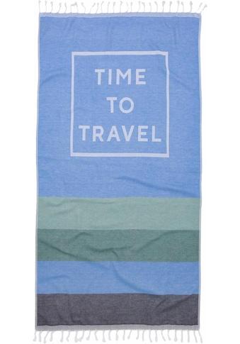 Seahorse Hamamtuch »Time to travel«, (1 St.), mit Schriftzug kaufen