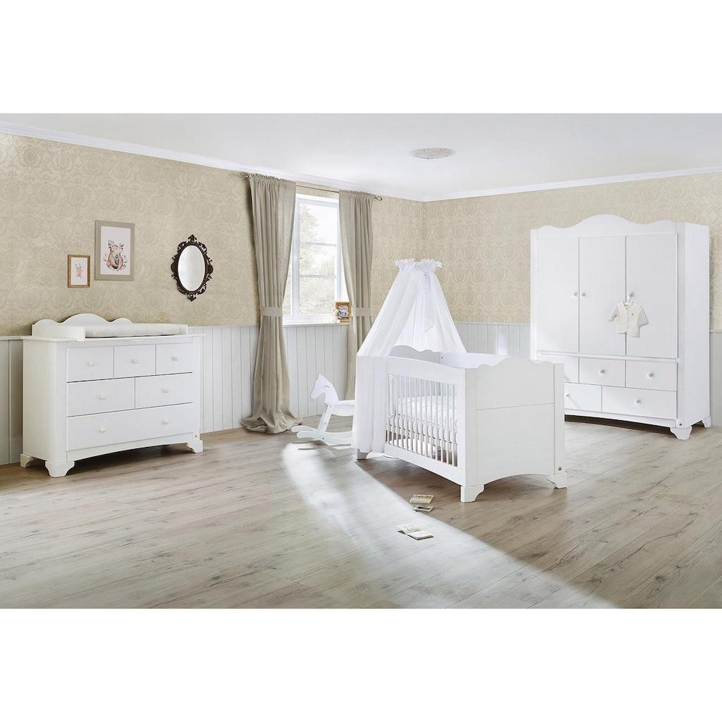 Pinolino® Babyzimmer-Komplettset »Pino«, (Set, 3 St.), breit groß mit 3 Türen; Made in Europe; mit Kinderbett, Schrank und Wickelkommode