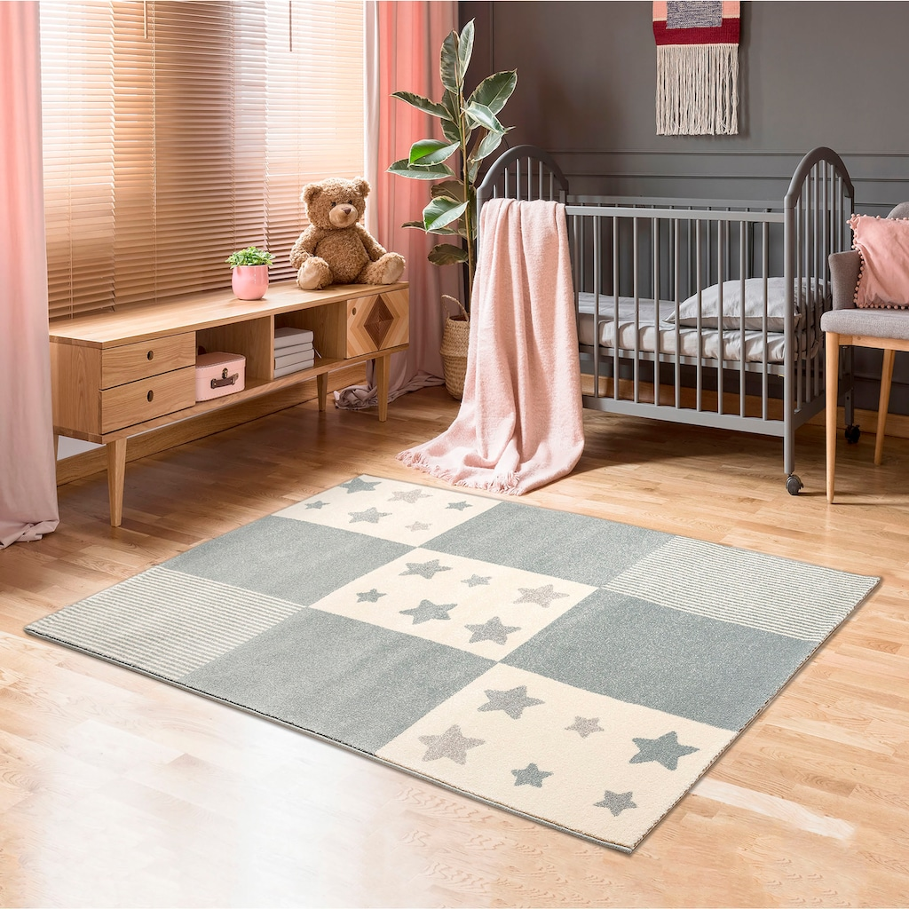 Lüttenhütt Kinderteppich »Tilly«, rechteckig, 14 mm Höhe, Motiv Sterne, Pastellfarben