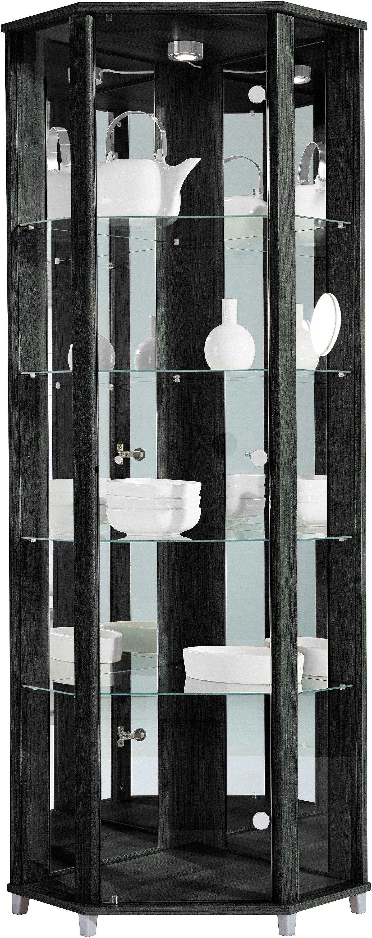 Eckvitrine, Höhe 172 cm, 4 Glasböden | Wohnzimmer > Vitrinen > Eckvitrinen | Schwarz | Melamin | QUELLE