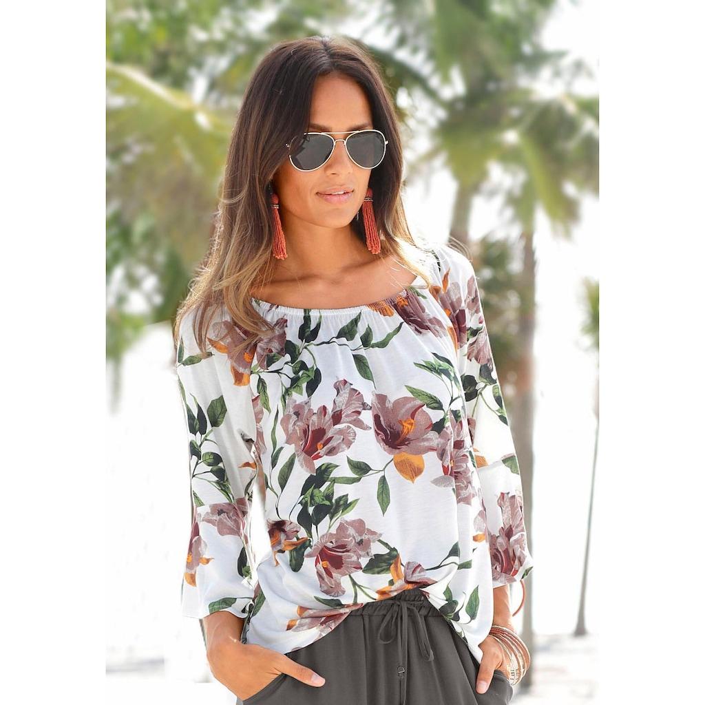 LASCANA Strandshirt, mit floralem Print