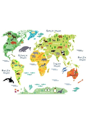 Wall-Art Wandtattoo »Tiere Weltkarte - Englisch« kaufen