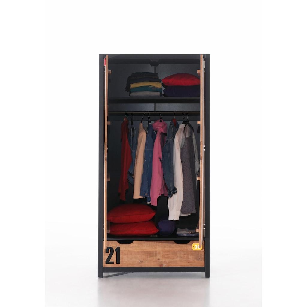 Vipack Kleiderschrank »Alex«, aus teilmassiver Kiefer und MDF in 2 Breiten