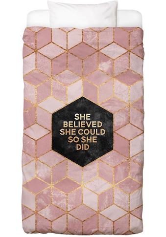 Juniqe Bettwäsche »She Believed She Could«, In vielen weiteren Designs erhältlich kaufen