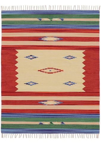 carpetfine Teppich »Kelim Mira«, rechteckig, 5 mm Höhe, Flachgewebe, Wendeteppich aus... kaufen