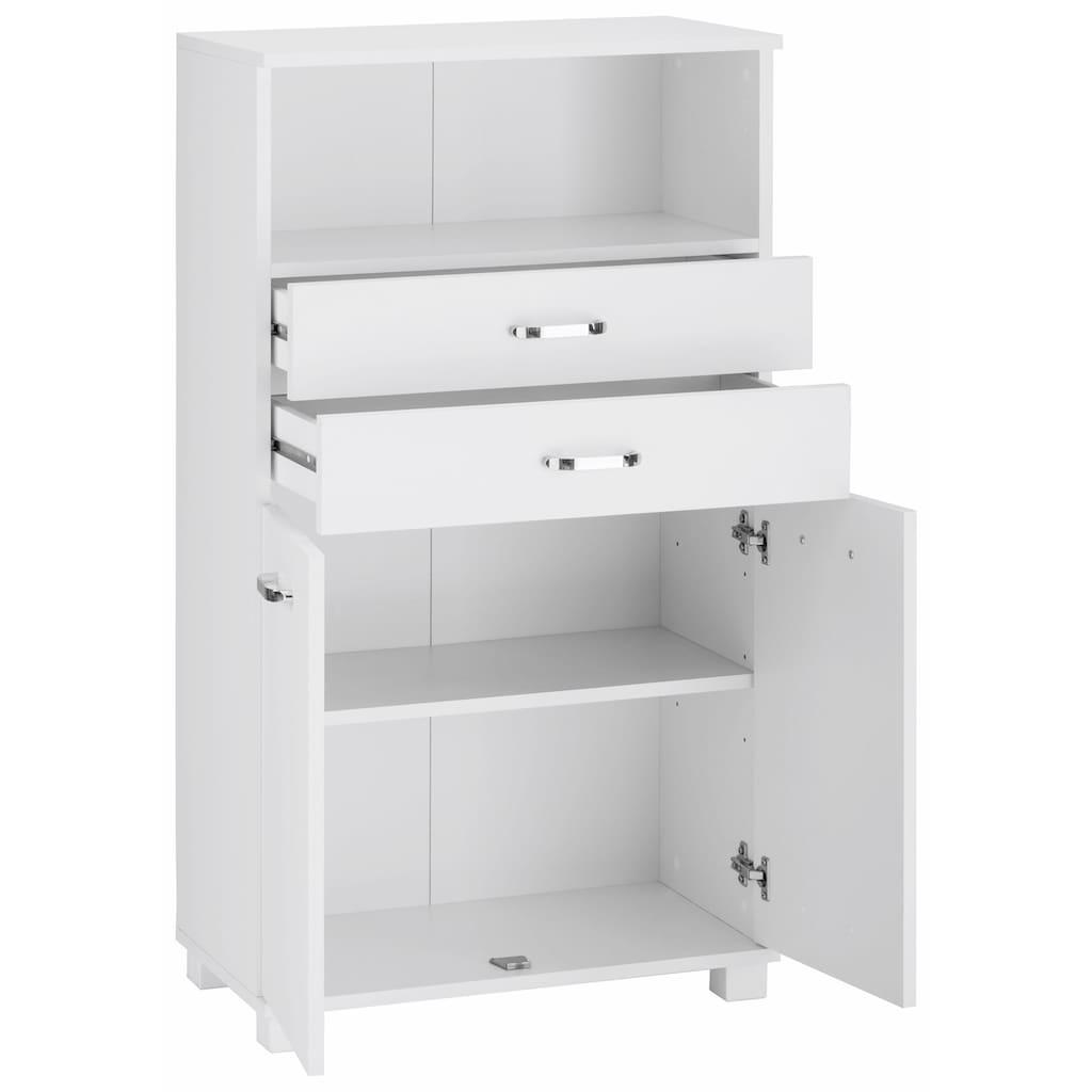 Schildmeyer Midischrank »Colli«, Breite 60 cm, Badezimmerschrank mit Metallgriffen, Ablageboden hinter den Türen, praktischer Stauraum in 2 Schubladen und im offenen Fach