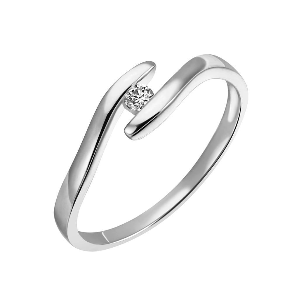 Firetti Diamantring »Solitär, elegant, mit Spannfassung, rhodiniert, Glanz, massiv«, mit Brillant