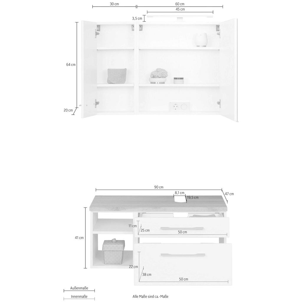 HELD MÖBEL Badmöbel-Set »Davos«, (3 St.), Bad-Spiegelschrank mit LED-Beleuchtung, Hängeschrank und Waschbeckenunterschrank