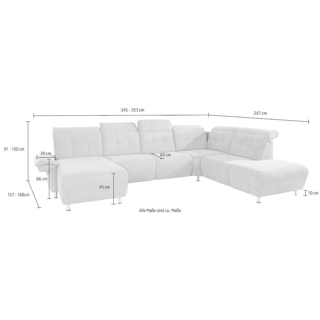 Places of Style Wohnlandschaft »Manhattan«, 2 Sitze mit elektrischer Relaxfunktion, verstellbare Armlehnen