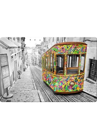 Glasbild »Tram in Lissabon« kaufen
