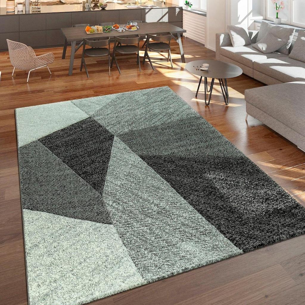 Paco Home Teppich »Brilliance 755«, rechteckig, 18 mm Höhe, Kurzflor mit 3D-Muster, Wohnzimmer