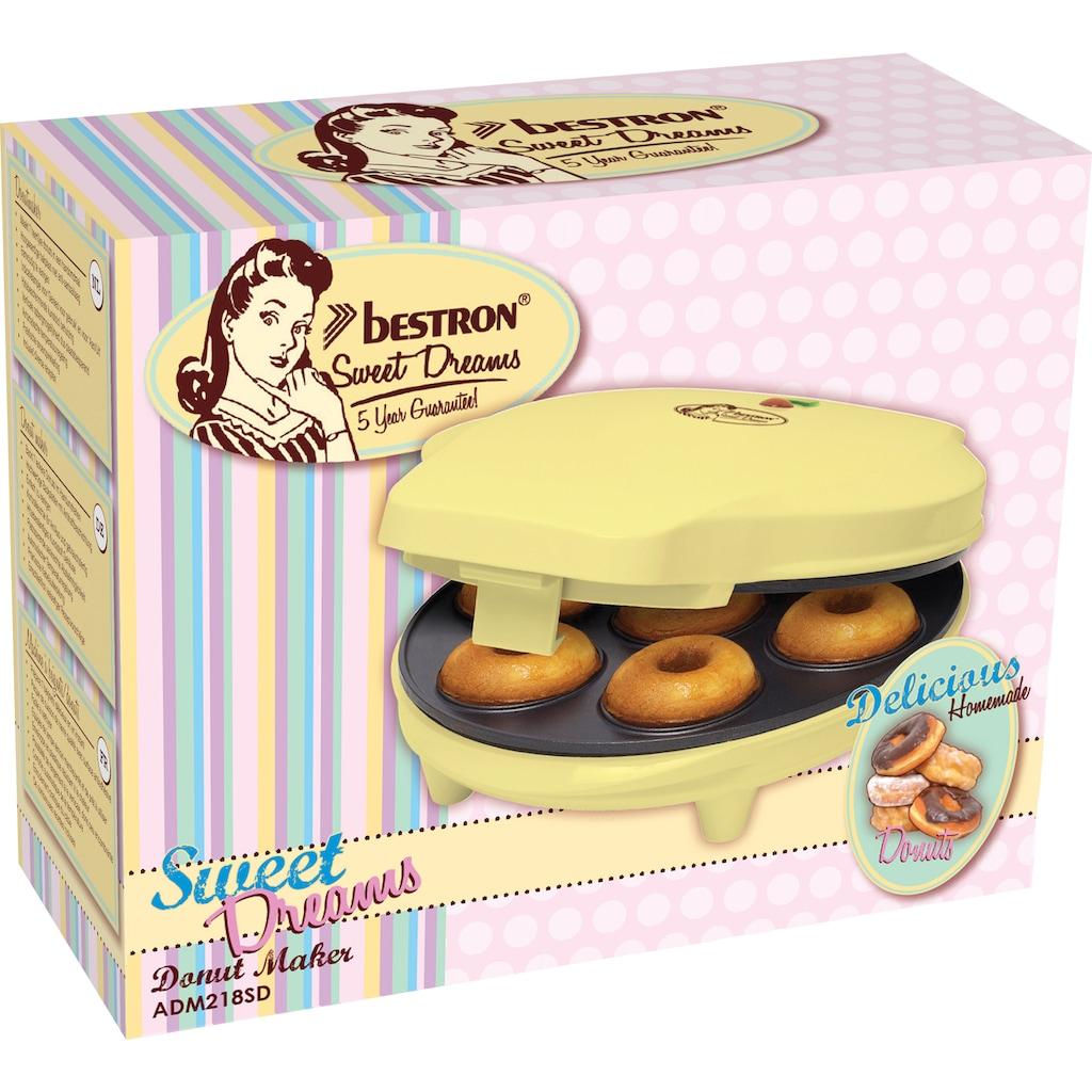 bestron Donut-Maker »Sweet Dreams«, 700 W, im Retro Design, Antihaftbeschichtung, Gelb
