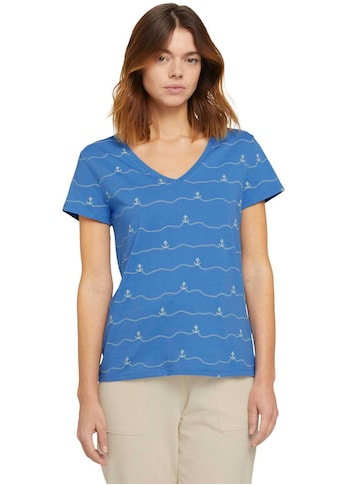 TOM TAILOR Denim T-Shirt, mit V-Ausschnitt und Print kaufen